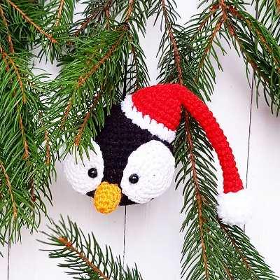 Елочная игрушка пингвин крючком