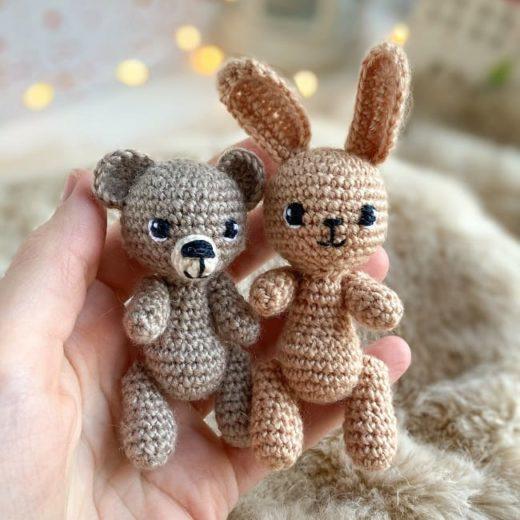 Мини-мишка и зайка амигуруми